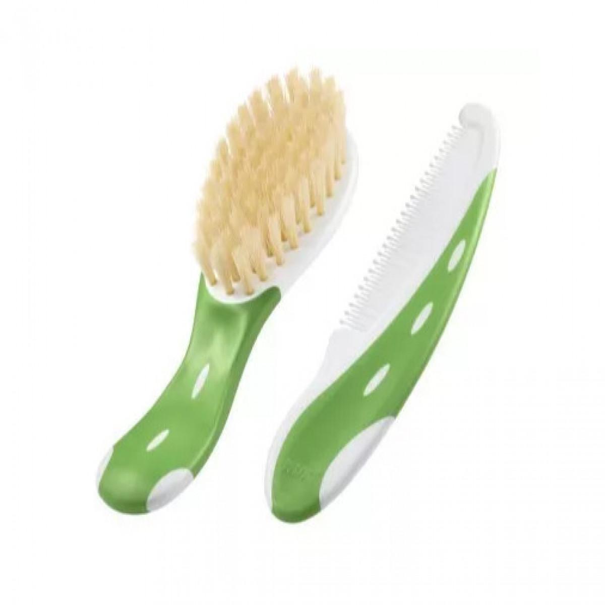 Cepillo natural y peine  Nuk verde