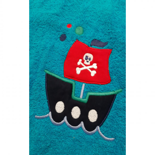 Poncho de toalla bordado   Turquesa