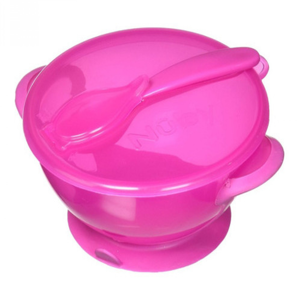 Bowl  con tapa y cuchara Nuby rosa