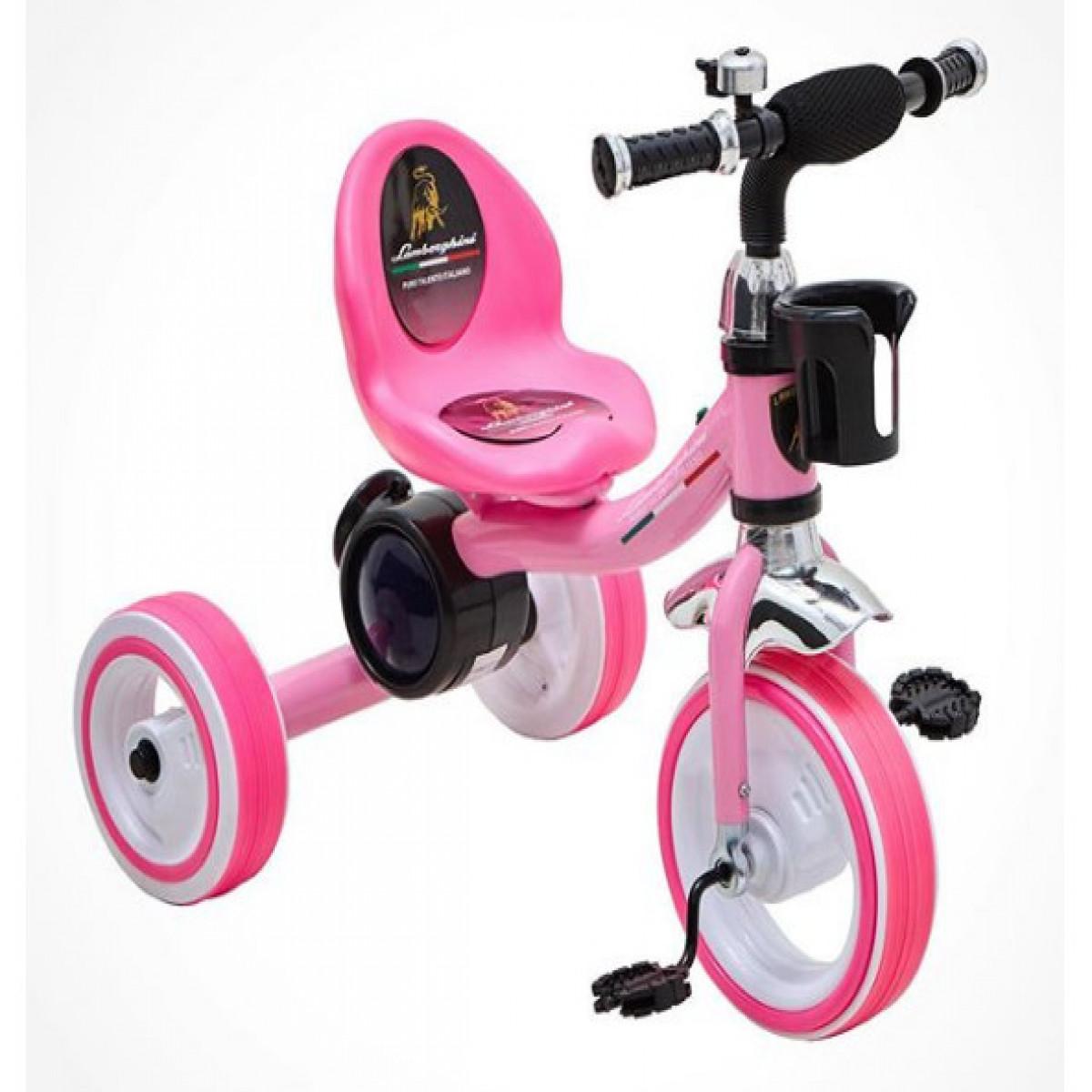 Triciclo con luces Lamborghini rosa