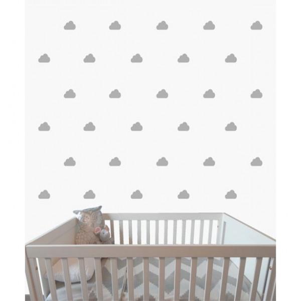 Vinilo nube decorativo Pequeñitos Baby Shop gris
