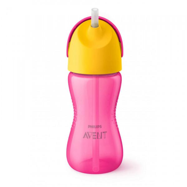 Vasos Straw Cup 300ml 12m+ Avent Rosa y amarillo