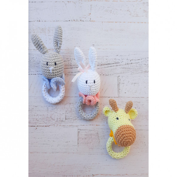 Sonajero animalitos  Conejo rosa