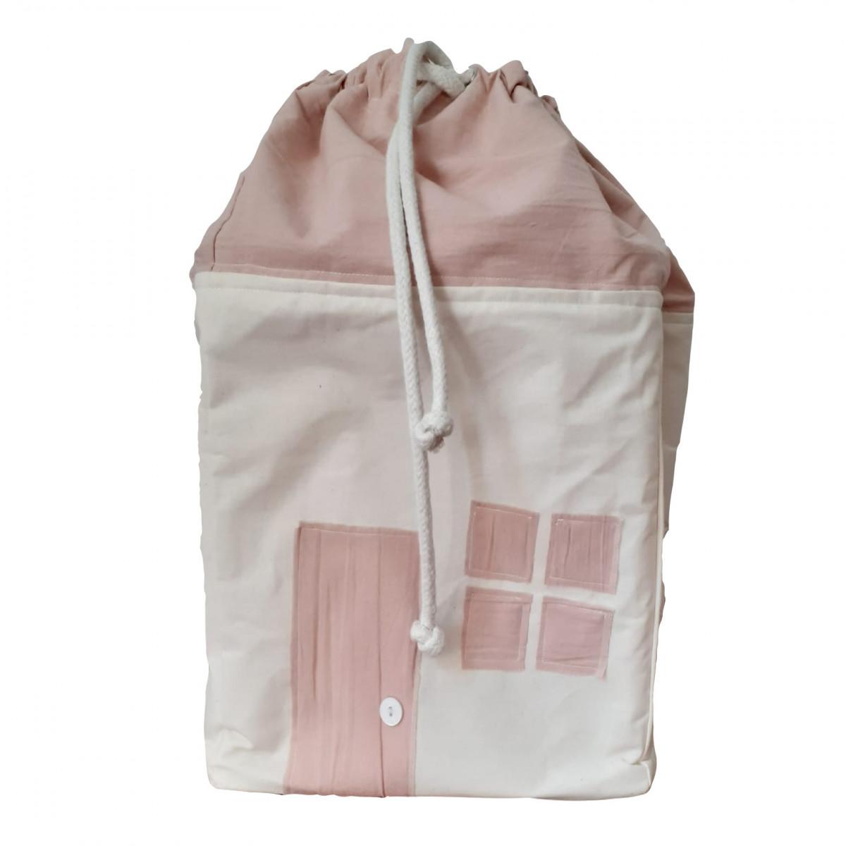 Contenedor bolsa casita  rosa