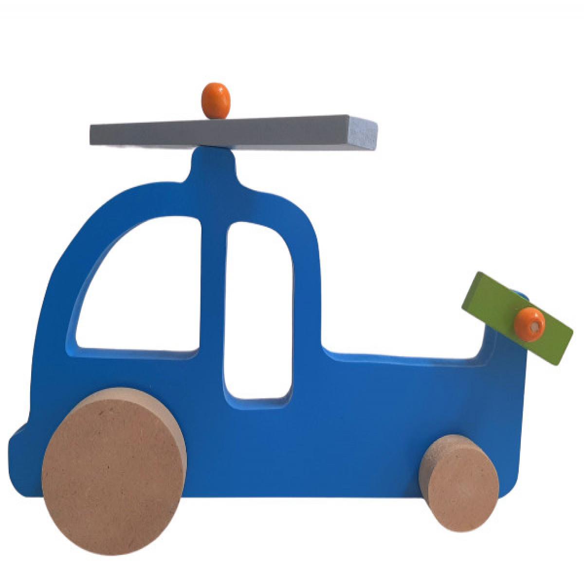 Avión de madera  azul
