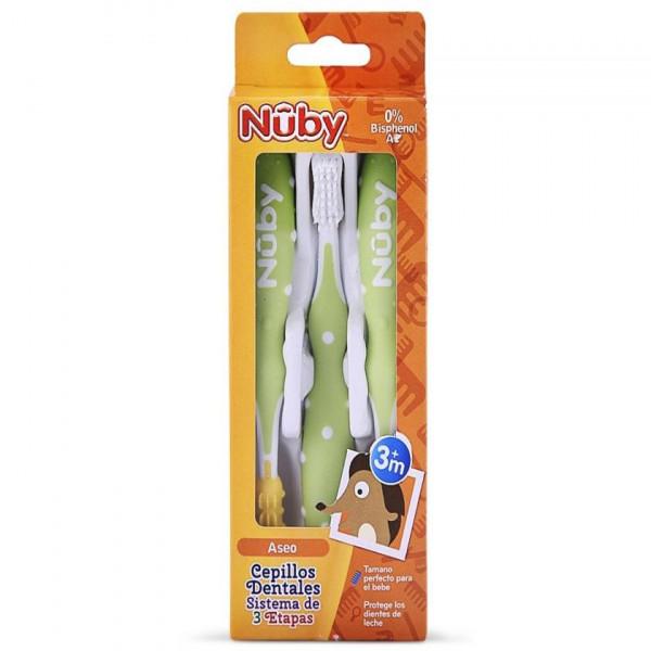 Set Cepillos de Dientes x 3 Nuby Verde