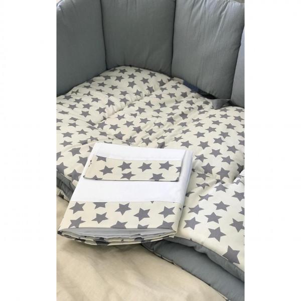 Juego sábanas cuna funcional  Estrella gris