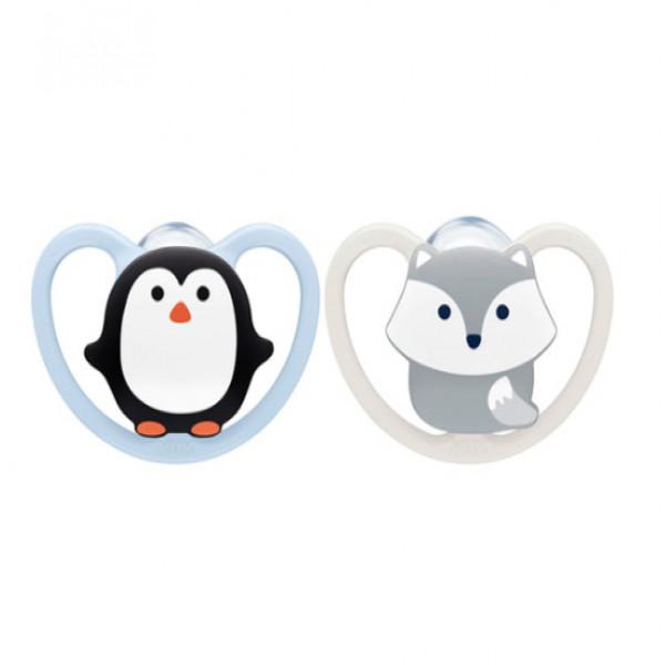 Chupete Space 6-18m doble Nuk Pinguino y mapache