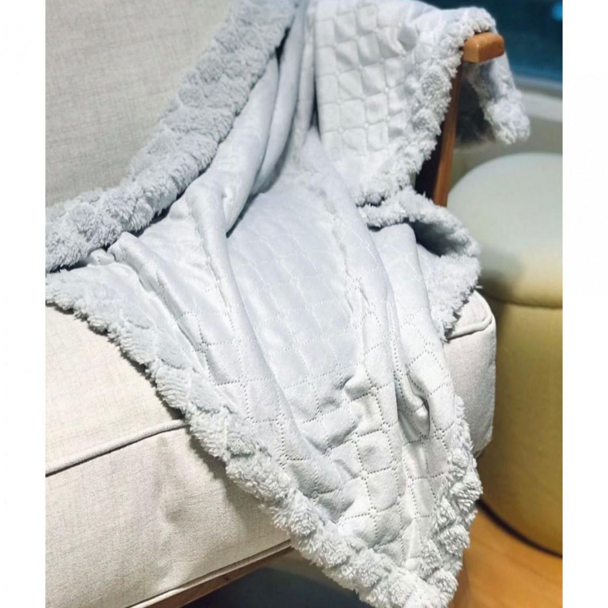 Manta de microfibra texturada con corderito   gris